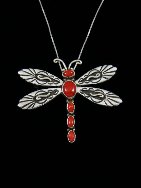 Native American Coral Dragonfly Sterling Silver Pin/Pendant