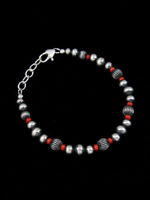 Native American Sterling Silver Coral Bead Bracelet