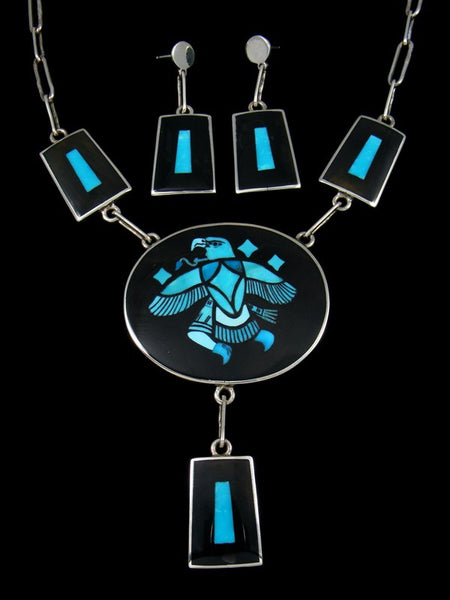 Sterling Silver Zuni Inlay Turquoise Eagle Dancer Necklace and Earrings Set