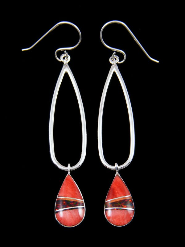 Native American Sterling Silver Spiny Oyster Tear Drop Inlay Earrings