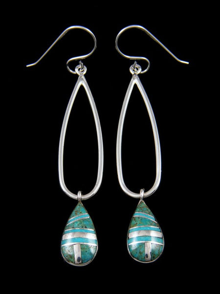 Native American Sterling Silver Turquoise Tear Drop Inlay Earrings
