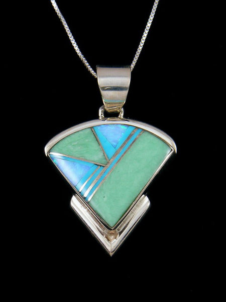 Native American Sterling Silver Honduran Opal and Opalite Inlay Pendant