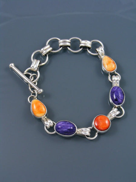 Native American Sterling Silver Charoite and Spiny Oyster Link Bracelet