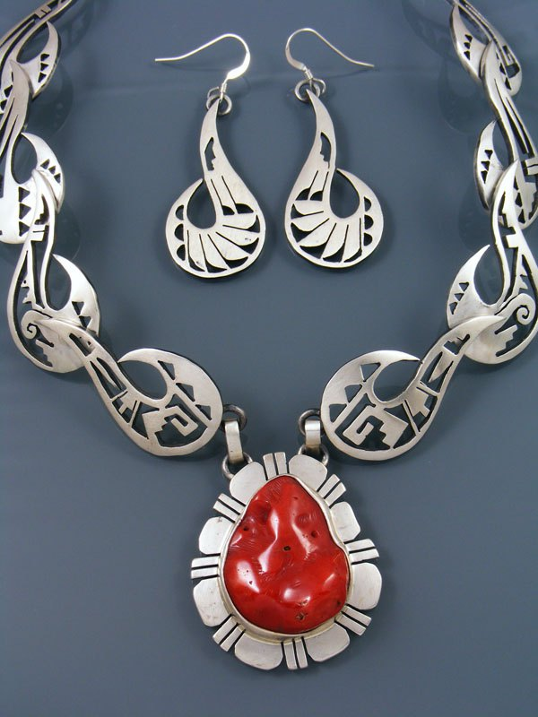 Natural Red Coral Handcut Sterling Silver Necklace Set