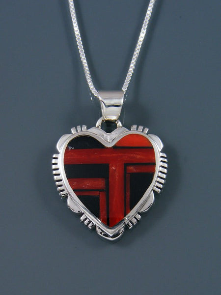 Navajo Inlay Sterling Silver Coral Heart Pendant