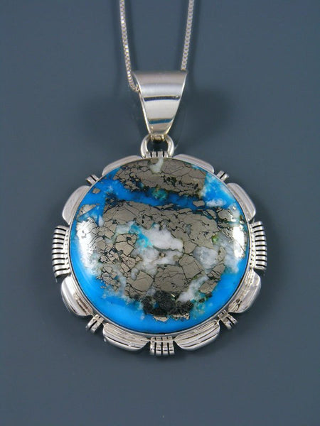 Native American Sterling Silver Ithaca Peak Turquoise Pendant