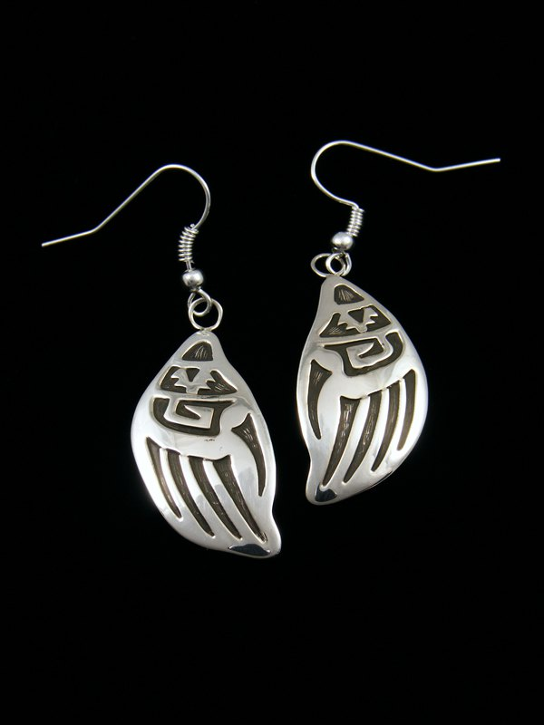 Sterling Silver Hopi Style Overlay Bear Paw Dangle Earrings