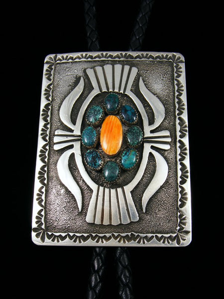 Native American Sterling Silver Turquoise and Spiny Oyster Bolo Tie