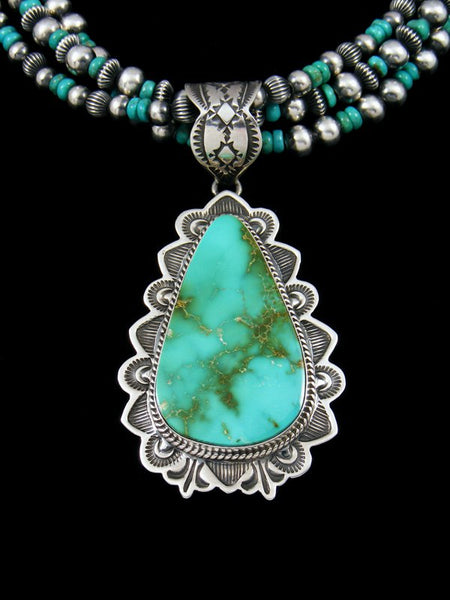 Native American Royston Turquoise Pendant With Bead Necklace Set