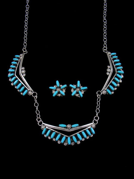 Native American Zuni Turquoise Necklace and Earrings Set