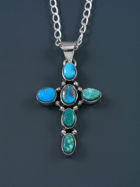 Native American White Water Turquoise Cross Pendant