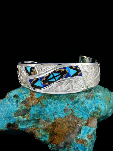 Native American Sterling Onyx Rug Pattern Inlay Cuff Bracelet