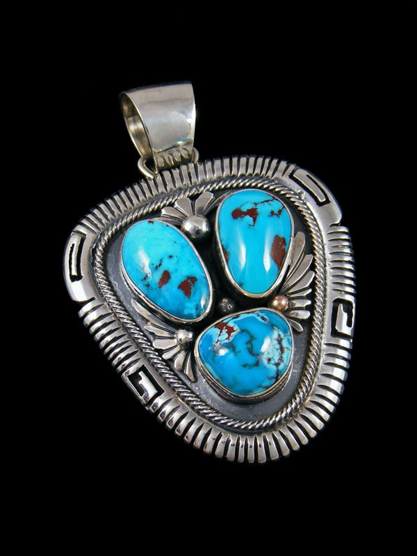 Native American Egyptian Turquoise Sterling Silver Pendant