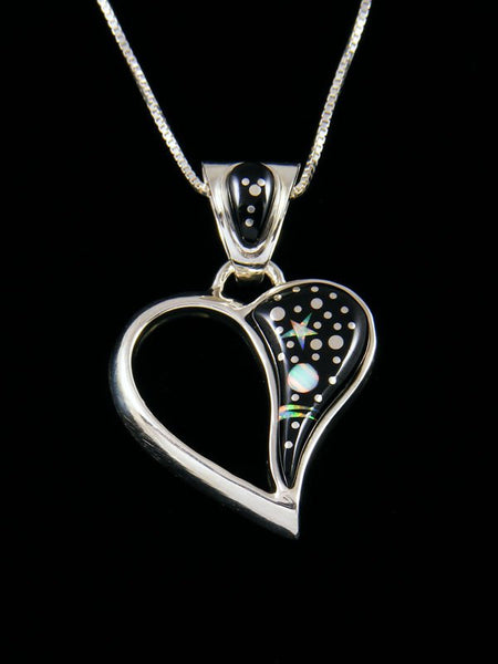Night Sky Heart Inlay Pendant