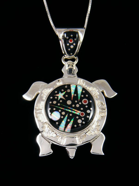 Night Sky Inlay Black Jade Turtle Pendant
