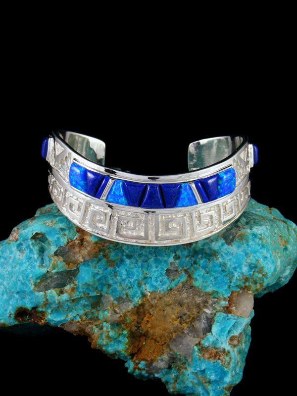 Native American Sterling Lapis and Opalite Inlay Cuff Bracelet