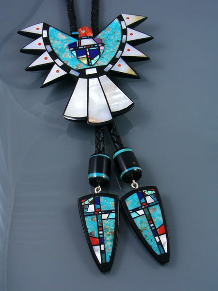 Native American Santo Domingo Turquoise Inlay Eagle Bolo Tie