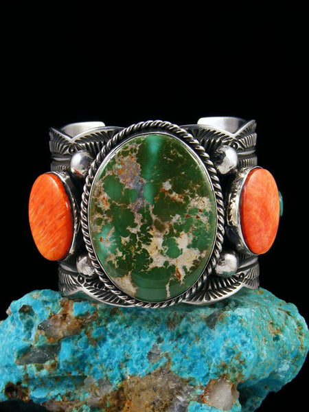 Native American Sterling Silver Royston Turquoise and Spiny Oyster Bracelet