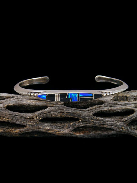 Native American Indian Onyx and Opalite Inlay Bracelet