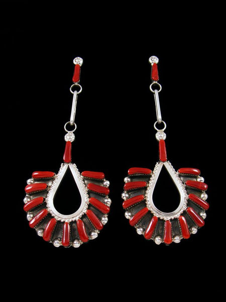 Sterling Silver Zuni Coral Post Earrings