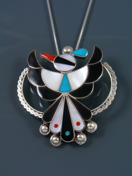 Sterling Silver Native American Zuni Inlay Thunderbird Pin Pendant