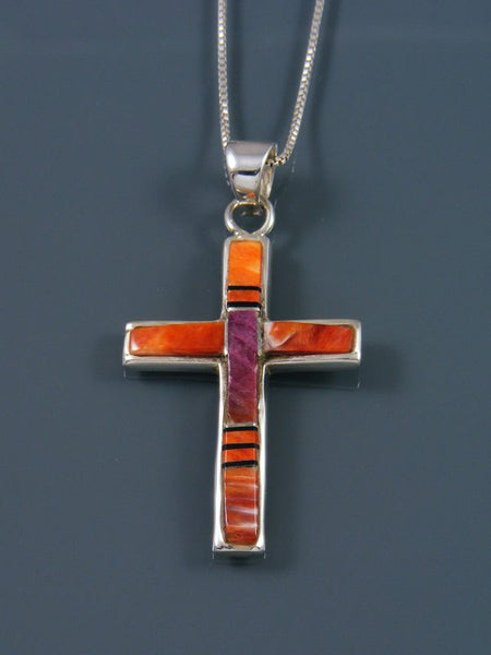 Navajo Necklace Inlay Spiny Oyster Cross Pendant