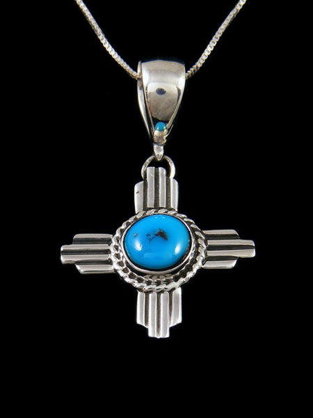 Native American Sterling Silver Turquoise Zia Pendant