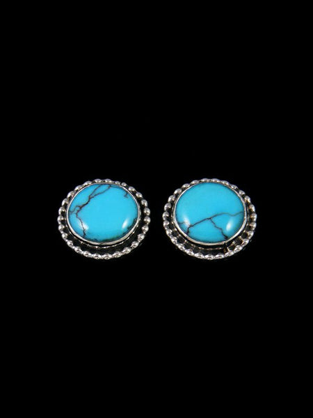 Navajo Sterling Silver Egyptian Turquoise Post Earrings