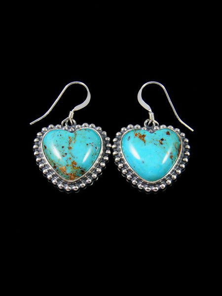 Navajo Sterling Silver Turquoise Heart Dangle Earrings