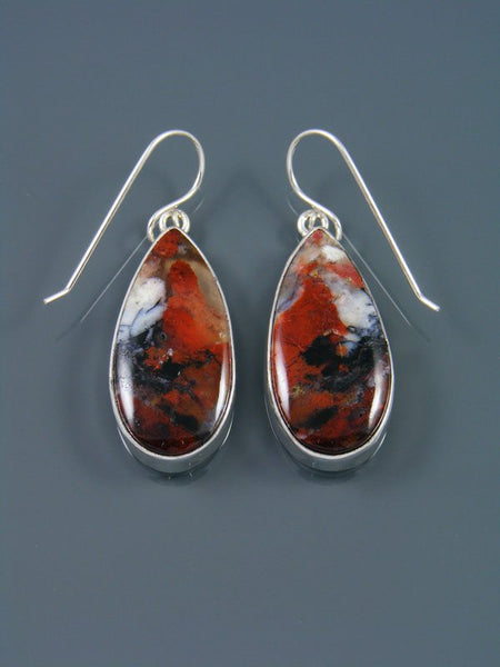 Native American Sterling Opalized Petrified Wood Dangle Earrings