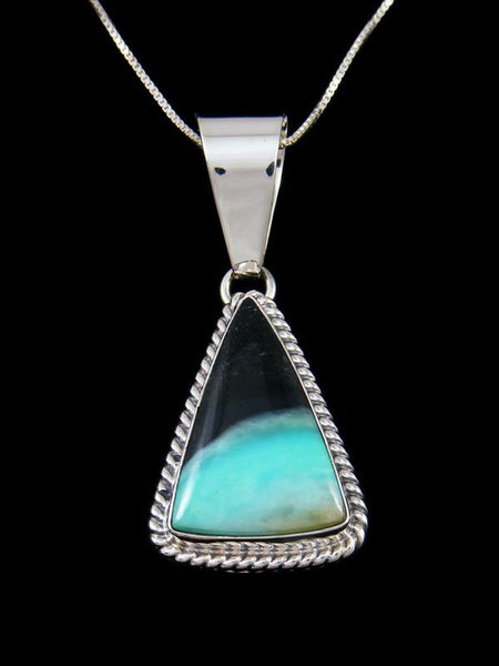 Navajo Sterling Silver Blue Opalized Petrified Wood Pendant