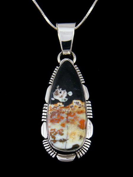 Navajo Sterling Silver Opalized Petrified Wood Pendant