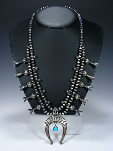 Native American Sterling Silver Turquoise Squash Blossom Necklace