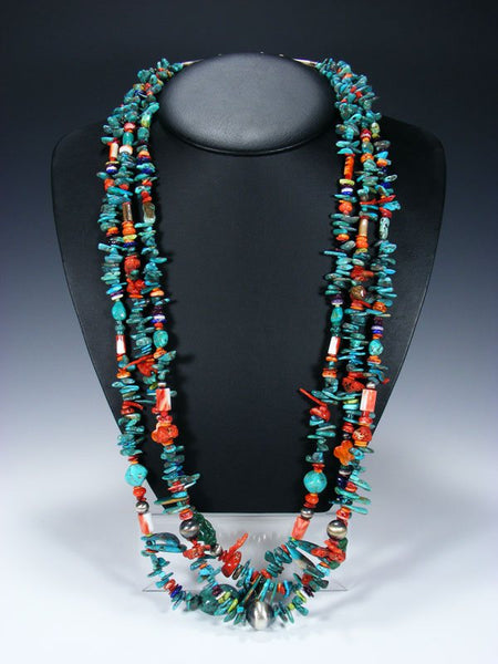 Native American Indian Santo Domingo Turquoise Treasure Necklace