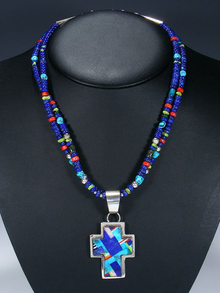 Native American Indian Santo Domingo Lapis Necklace with Pendant