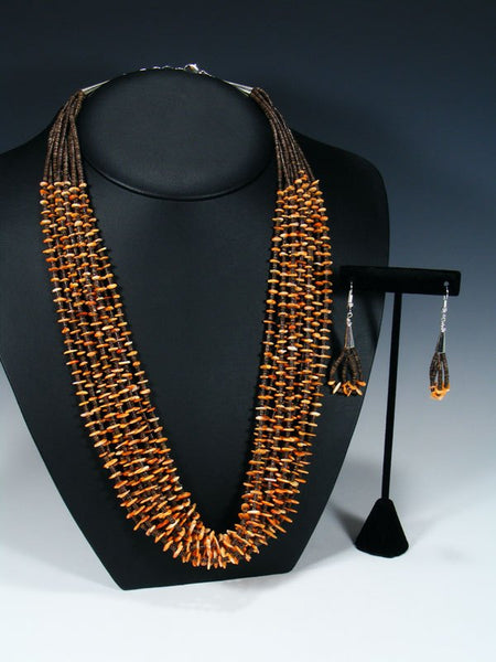 Native American Spiny Oyster and Heishi Ten Strand Necklace Set