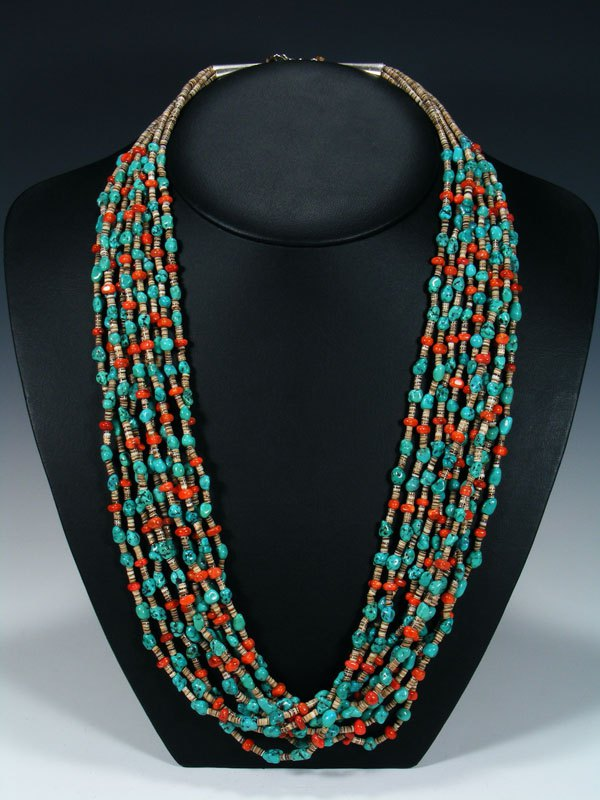 Native American Apple Coral and Turquoise Ten Strand Necklace