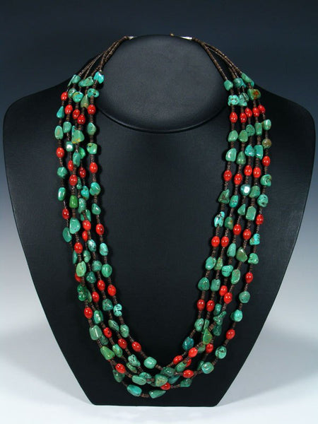 Native American Apple Coral and Turquoise Five Strand Necklace