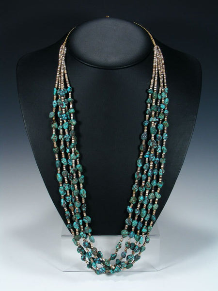 Native American Santo Domingo Chunky Turquoise Necklace