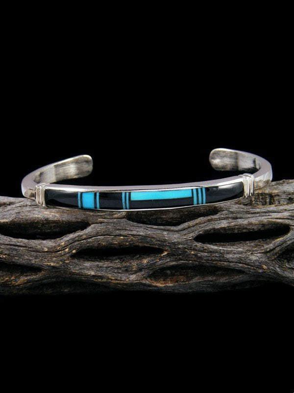 Native American Indian Turquoise and Onyx Inlay Bracelet