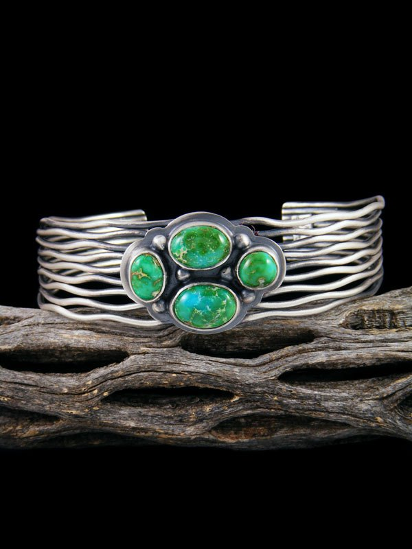 Native American Sterling Silver Sonoran Turquoise Cuff Bracelet