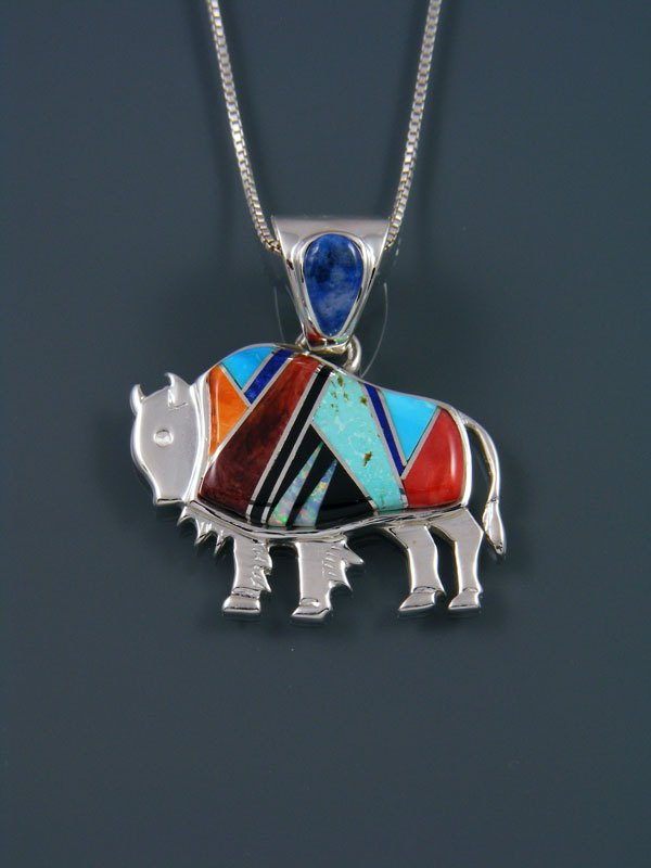 Native American Spiny Oyster and Turquoise Buffalo Inlay Pendant