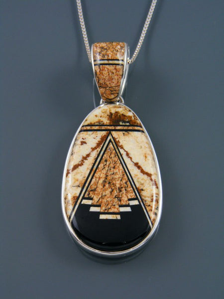 Native American Jasper and Onyx Inlay Pendant