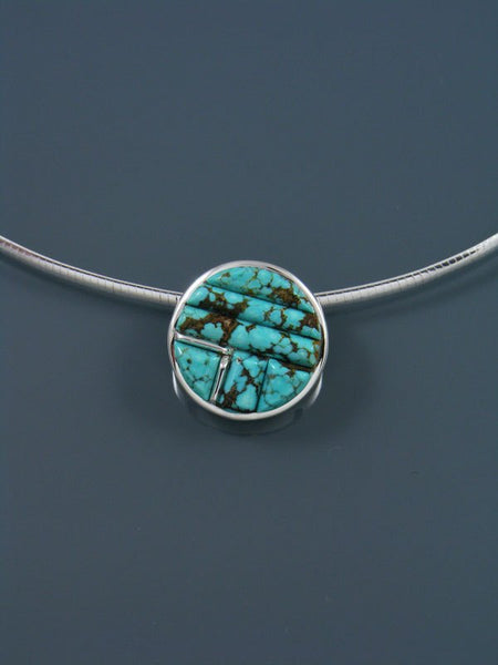 #8 Turquoise Cobblestone Inlay Pendant Necklace