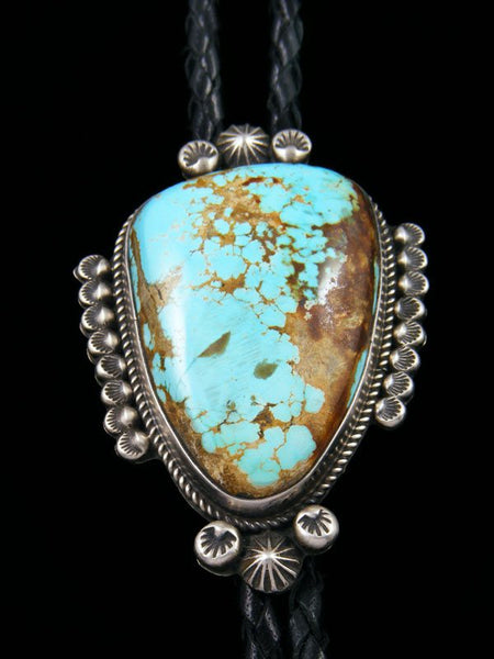 Navajo Sterling Silver Pilot Mountain Turquoise Bolo Tie