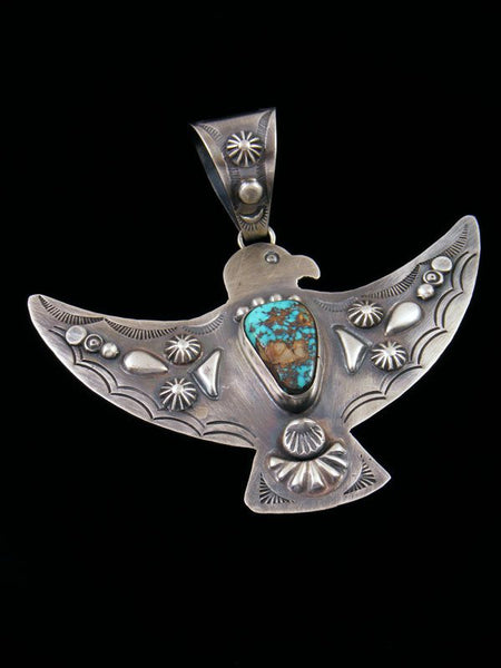 Native American Jewelry Pilot Mountain Turquoise Thunderbird Pendant