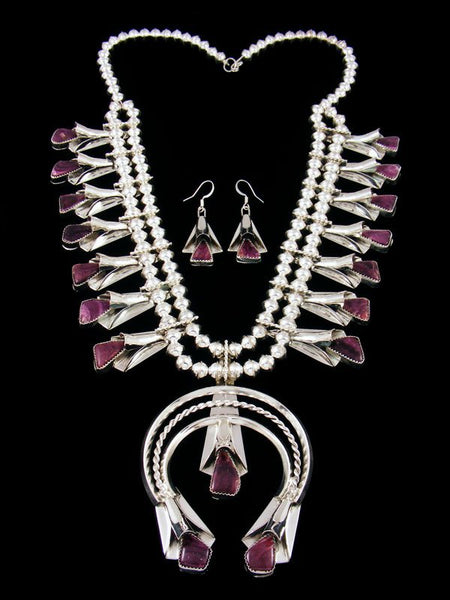 Purple Spiny Oyster Sterling Silver Squash Blossom Necklace