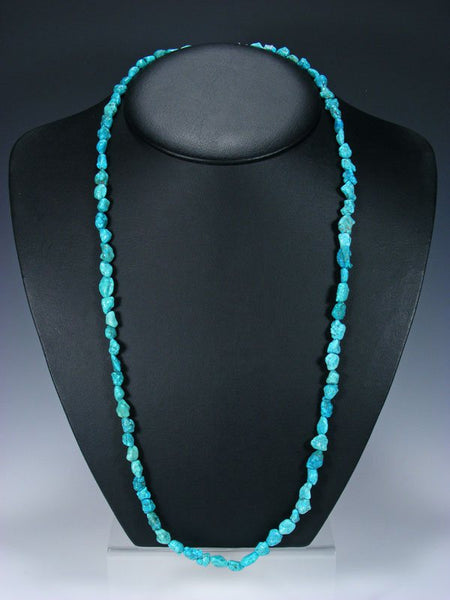 Native American Jewelry Single Strand Turquoise Nugget Necklace