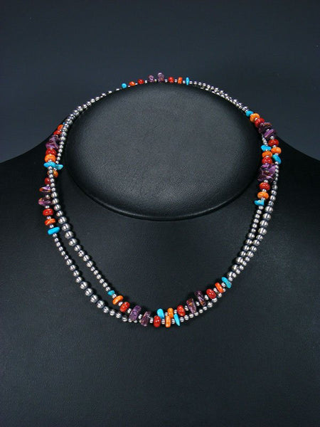 "36"" Native American Turquoise, Spiny Oyster and Silver Wrap Necklace"