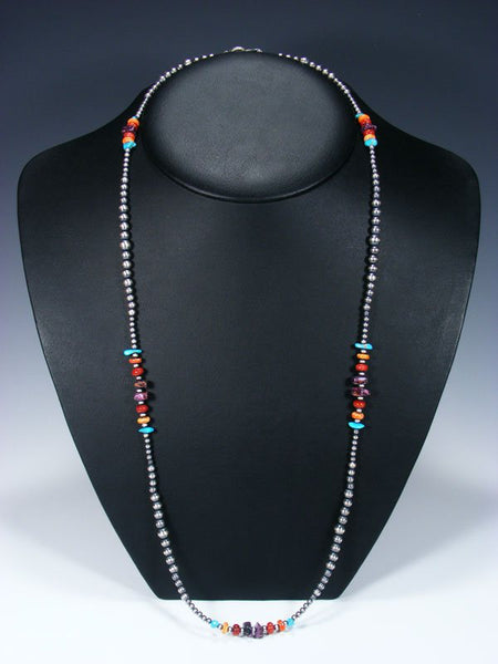 "30"" Native American Turquoise, Spiny Oyster and Silver Bead Necklace"